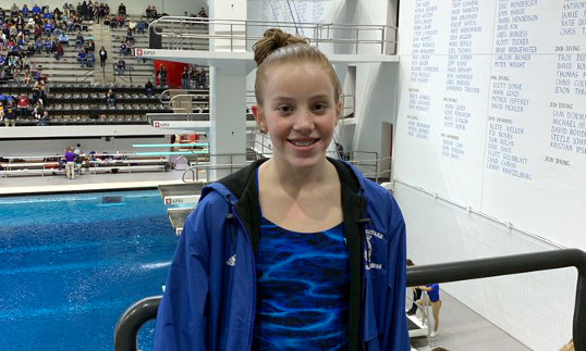 Grace Hurley places 14th in State Diving